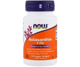 NOW FOODS Astaxanthin 4mg 60softgels (Astaksantiin)