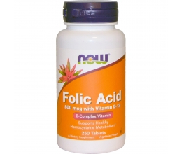 NOW FOODS Folic Acid 800mcg x 250Tabs + 25mcg B12