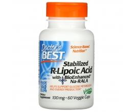 DR´S BEST Stabilized R-Lipoic Acid with BioEnhanced Na-RALA 100 mg, 60veg caps