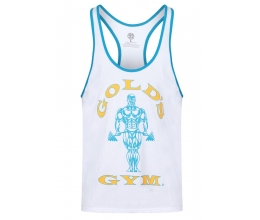 GOLDS GYM Stringer Joe Contrast (White/Turquoise) GGVST004