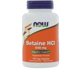 NOW FOODS Betaine HCL(Pepsin) 648mg - 120 vcaps (betaiin)