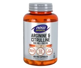 NOW FOODS Arginine 500mg & Citrulline 250mg - 120 Veg. Capsules