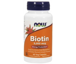 NOW FOODS Biotin, 5000mcg x 60Caps