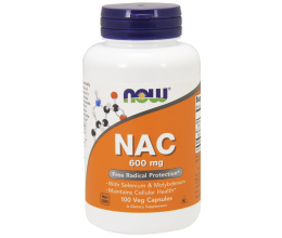 NOW FOODS NAC N-Acetyl Cysteine 600mcg - 100 vcaps (N-ацетил-L-цистеин)