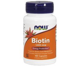 NOW FOODS Biotin, 1000mcg - 100Caps (biotiin)