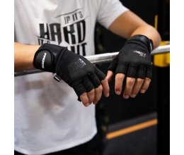 PROZIS Be Proud Gel Grip Gloves with Wrist Protection (Black/Silver)