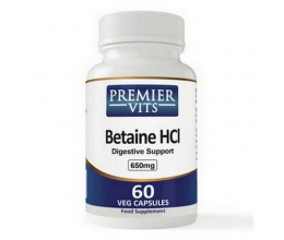 PREMIERVITS Betaine HCL 650mg x 60VCaps (betaiin) BB 01/2021