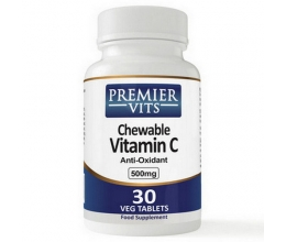 PREMIERVITS Vitamin C-500, 500mg x 30 Chewable VegCaps