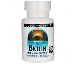 SOURCE NATURALS Biotin, 10,000mcg 60Tabs