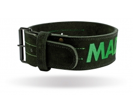 "MADMAX Suede Single Prong belt - 4"" 10 mm Black/Green (MFB-301)"